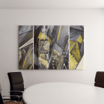 Hand Drawn Oil Painting Triptych Abstract Canvas Art Wall Decor