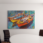 Original Oil Painting On Canvas Boats Canvas Art Wall Decor