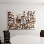 Illustration Painting Urban City Grunge Texture Canvas Art Wall Decor