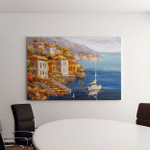 Oil Painting Harbor View Greece Canvas Art Wall Decor