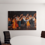 Long Exposed Colorful Photo Dancers Performing Canvas Art Wall Decor