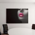 Red Lipstick Dripping Paint Drips Lipgloss Canvas Art Wall Decor