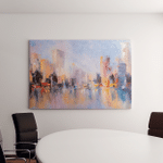 Skyline City View Reflections On Water Canvas Art Wall Decor