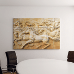 Stone Sculpture Horse On Wall Canvas Art Wall Decor