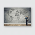 Female Construction Worker Room Globalization Concept Poster, Sticker, Ornament