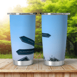 Directional Sign Post On Evening Sky Shining Tumbler