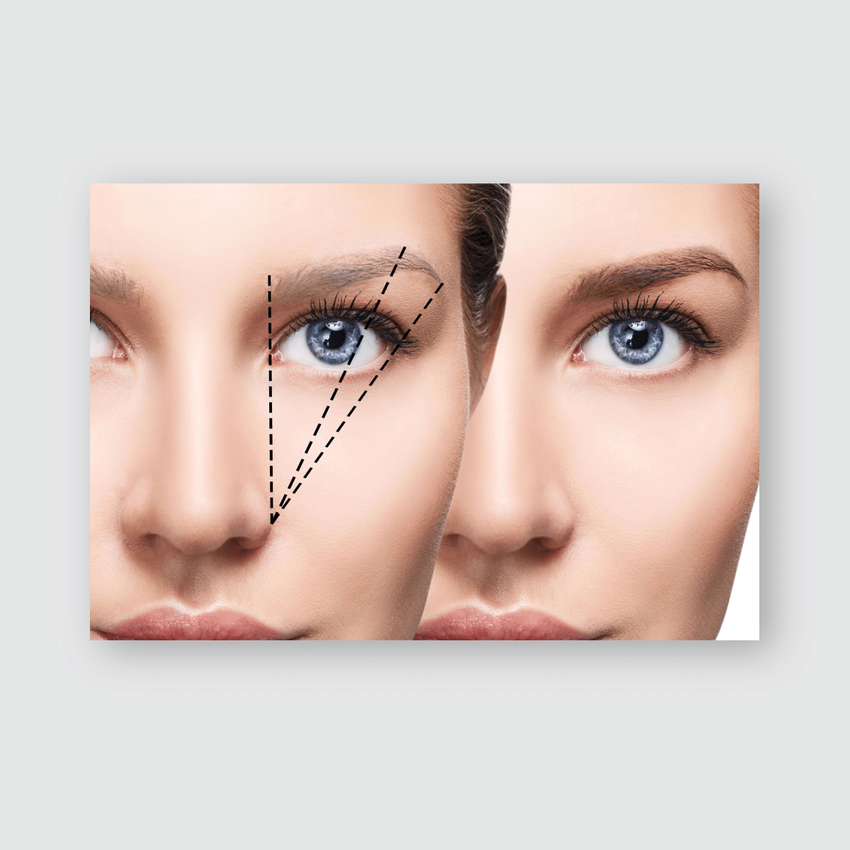 Female Face Before After Eyebrows Correction Poster, Sticker, Ornament