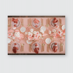 Festive Table Decor Pastel Pink Colors Poster, Sticker, Ornament