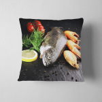 Delicious Fresh Fish On Dark Vintage Pillow Case Cover