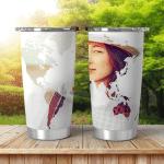 Double Exposure Portrait Traveler Woman Combined Shining Tumbler