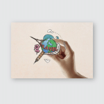 Female Hand Holding Travel Sketch On Poster, Sticker, Ornament