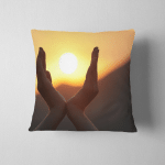 Decline Hands Sunset On Background Lifted Pillow Case Cover