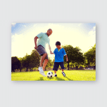 Father Son Playing Soccer Park Summer Poster, Sticker, Ornament