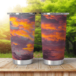 Dramatic Sunset Sky Background Fiery Clouds Shining Tumbler