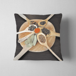 Different Spices Wooden Spoons On Round Pillow Case Cover
