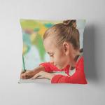 Digital Composite Girl Doing Homework Against Pillow Case Cover
