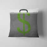 Dollar Sign Painted On Old Grungy Pillow Case Cover