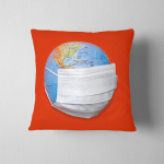 Disposable Medical Mask On Globe Model Pillow Case Cover