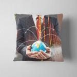 Double Exporsure Businessman Hand Showing Texture Pillow Case Cover