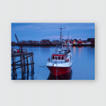 Fishing Boat Harbour Sunset Reine Lofoten Poster, Sticker, Ornament