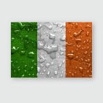 Flag Ireland Rain Drops Poster, Sticker, Ornament