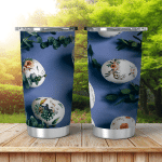 Easter Eggs Floral Ornament On Blue Shining Tumbler