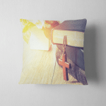 Wooden Cross Hang On Stack Old Pillow Case Cover