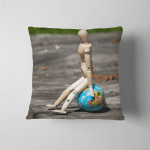 Wooden Mannequin Sitting On World Ball Pillow Case Cover