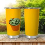 Succulent Pot On Orange Background Cactus Shining Tumbler