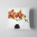 Spa Stones Orchid Flowers Over White Pillow Case Cover