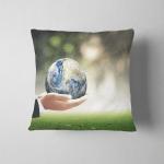 World Environment Day Concept Businessman Hands Pillow Case Cover