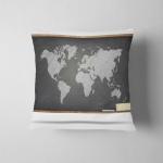 World Map On Black Blackboard Pillow Case Cover
