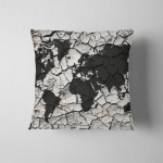 World Map Texture Dried Cracked Soil Pillow Case Cover