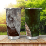 Single Elephant Reflected On Still Surface Shining Tumbler