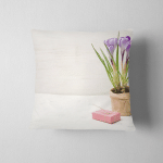 Spring Lilac Purple Crocus Flowerpot Green Pillow Case Cover