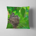Young Baby Birds Nest On Bench Pillow Case Cover