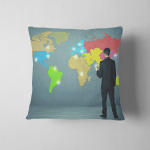 Young Businessman Drawing Map On Wall Pillow Case Cover
