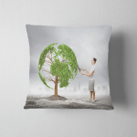 Young Businesswoman Cutting Tree Scissors Shape Pillow Case Cover
