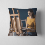 Young Creative Artist Painting Studio She Pillow Case Cover