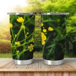 Small Yellow Flowers Among Green Foliage Shining Tumbler