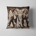 Young Elephants Running Playing Around Waterhole Pillow Case Cover