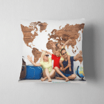 Young Family Travelers Near Big World Pillow Case Cover