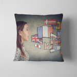 Young Student Woman Learning Different Languages Pillow Case Cover