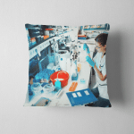 Young Scientist Works Modern Biological Lab Pillow Case Cover
