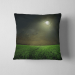 Young Wheat Field Night Moonlight Pillow Case Cover
