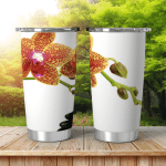 Spa Stones Orchid Flowers Over White Shining Tumbler