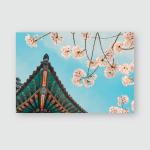 Korean Traditional Wooden Eaves Cherry Blossoms Poster, Pillow Case, Tumbler, Sticker, Ornament