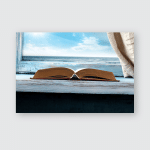 Photo Book On Wooden Blue Sill Poster, Pillow Case, Tumbler, Sticker, Ornament