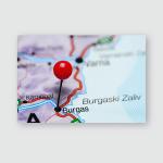 Burgas Pinned On Map Bulgaria Poster, Pillow Case, Tumbler, Sticker, Ornament