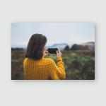 Photographer Girl Hold Hands Mobile Phone Poster, Pillow Case, Tumbler, Sticker, Ornament